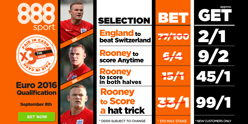england and rooney treble the odds